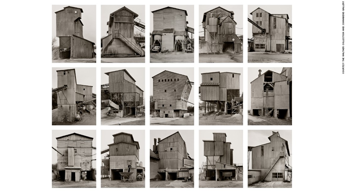 "In the late 1950s, Bernd and Hilla Becher embarked on a methodical project to catalog industrial architecture throughout Europe and the US, photographing buildings in a deadpan style that revealed familial similarities of buildings, which they called ""typologies."""