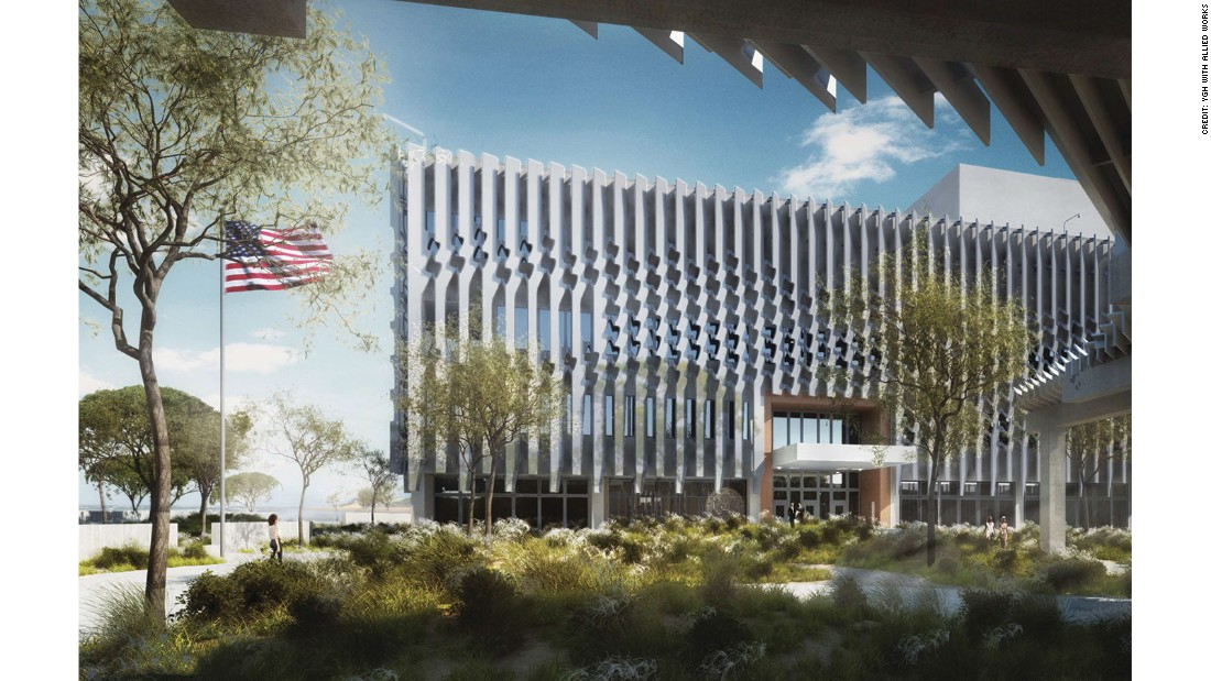 The new embassy in Mozambique is on a 10-acre campus in the capital city of Maputo. Elements that attempt to balance security with transparency include a patterned brise-soleil, or screen, on the exterior. It is under construction with a budget of $253 million.
