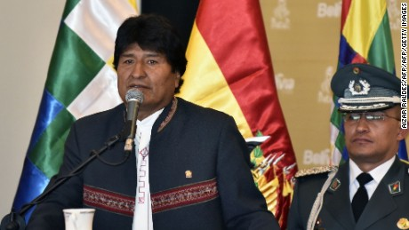 Bolivia's President Evo Morales Ayma (L), speaks during the presentation of the Rally Dakar 2018 in La Paz, on March 29, 2017. The next Dakar Rally will pass across Bolivia for the fourth time. / AFP PHOTO / AIZAR RALDES        (Photo credit should read AIZAR RALDES/AFP/Getty Images)