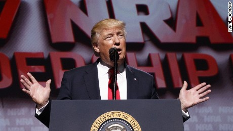 President Donald Trump speaks at the National Rifle Association Leadership Conference, Friday, April 28, 2017, in Atlanta. (AP Photo/Evan Vucci)