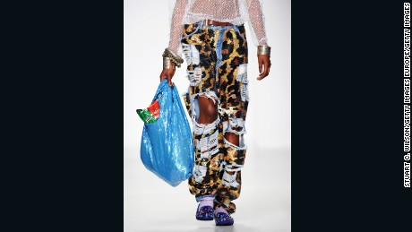 Ashish showed eye-catching sequined bags modeled after plastic grocery bags.
