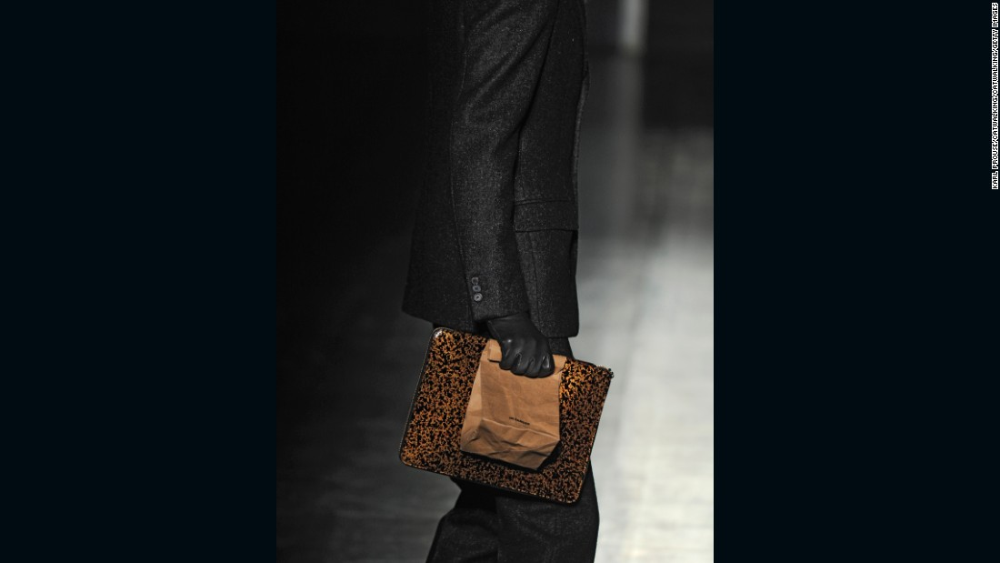 Raf Simons gave paper bags a high-end twist as parts of his Autumn-Winter 2012 menswear collection at Jil Sander.