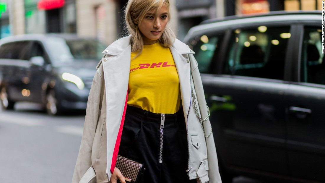 Balenciaga's creative director, Demna Gvasalia, showed similar irreverence at his other brand, Vetements. Their DHL t-shirt was a street style staple in 2016.
