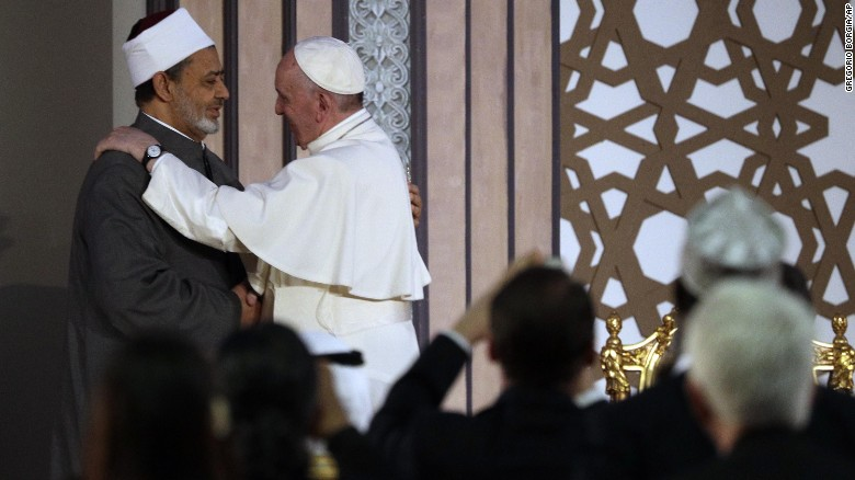 The Pope greets Sheikh Ahmed el-Tayeb, the grand imam of the Al-Azhar mosque in Cairo, on April 28.