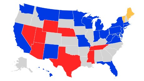 States up for re-election -- Blue: Democratic. Red: Republican. Yellow: Independent.