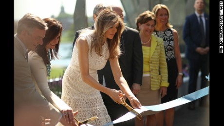 WASHINGTON, DC - APRIL 28:  U.S. first lady Melania Trump takes part in a ribbon cutting ceremony at the Children's National Health System April 28, 2017 in Washington, DC. Trump spoke a the opening of the Bunny Mellon Healing Garden for patients and famlies, an outdoor location for to safely spend time outdoors while receiving treatment at the hospital.  (Photo by Win McNamee/Getty Images)