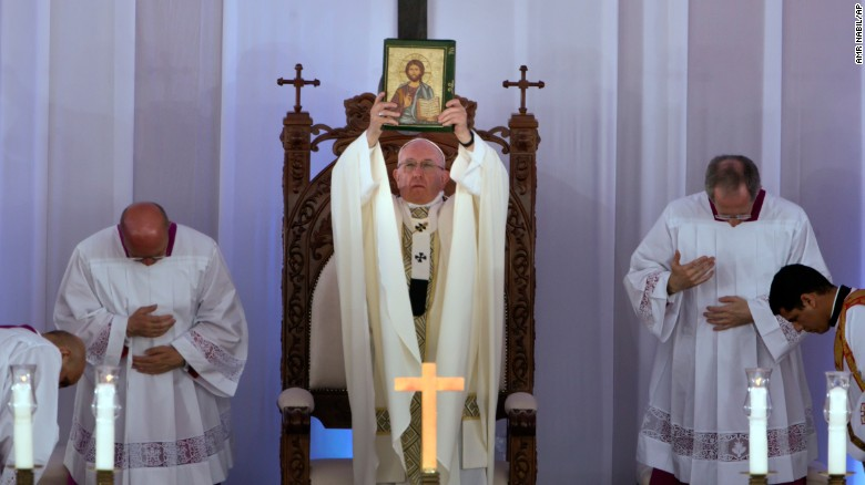 """Pope Francis <a href=""""http://www.cnn.com/2017/04/29/africa/egypt-pope-visit-saturday/"""" target=""""_blank"""">celebrates Mass</a> at the Air Defense Stadium in Cairo on Saturday, April 29. Francis is on <a href=""""http://www.cnn.com/2017/04/28/africa/egypt-pope-visit/"""" target=""""_blank"""">a two-day trip to Egypt</a> to forge Muslim-Christian brotherhood and show solidarity with the country's persecuted Coptic Christian minority."""
