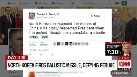 President Donald Trump on Twitter cast North Korea's latest Missile launch as a direct snub against China.