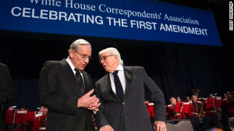 Bob Woodward, left, talks with Carl Bernstein during the White House Correspondents' Dinner in Washington, Saturday, April 29, 2017. (AP Photo/Cliff Owen)
