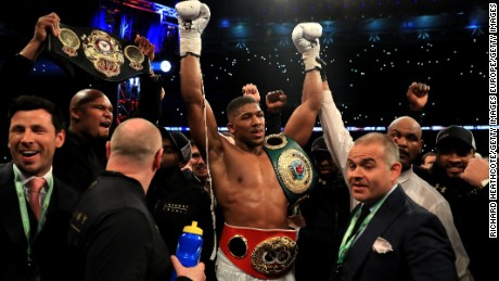 LONDON, ENGLAND - APRIL 29:  Anthony Joshua celebrates victory over Wladimir Klitschko in the IBF, WBA and IBO Heavyweight World Title bout at Wembley Stadium on April 29, 2017 in London, England.  (Photo by Richard Heathcote/Getty Images)