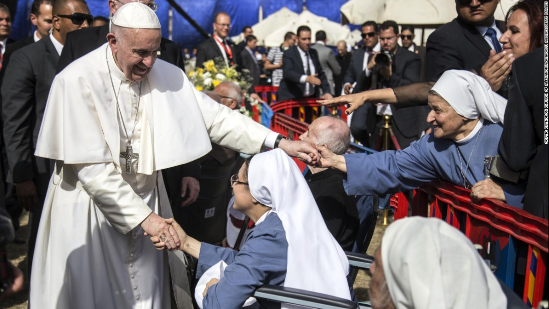 "Pope Francis visits the The Coptic Catholic College in Cairo, Egypt, on April 29. Francis made <a href=""http://www.cnn.com/2017/04/28/africa/egypt-pope-visit/"" target=""_blank"">a two-day trip to Egypt</a> to forge Muslim-Christian brotherhood and show solidarity with the country's persecuted Coptic Christian minority."