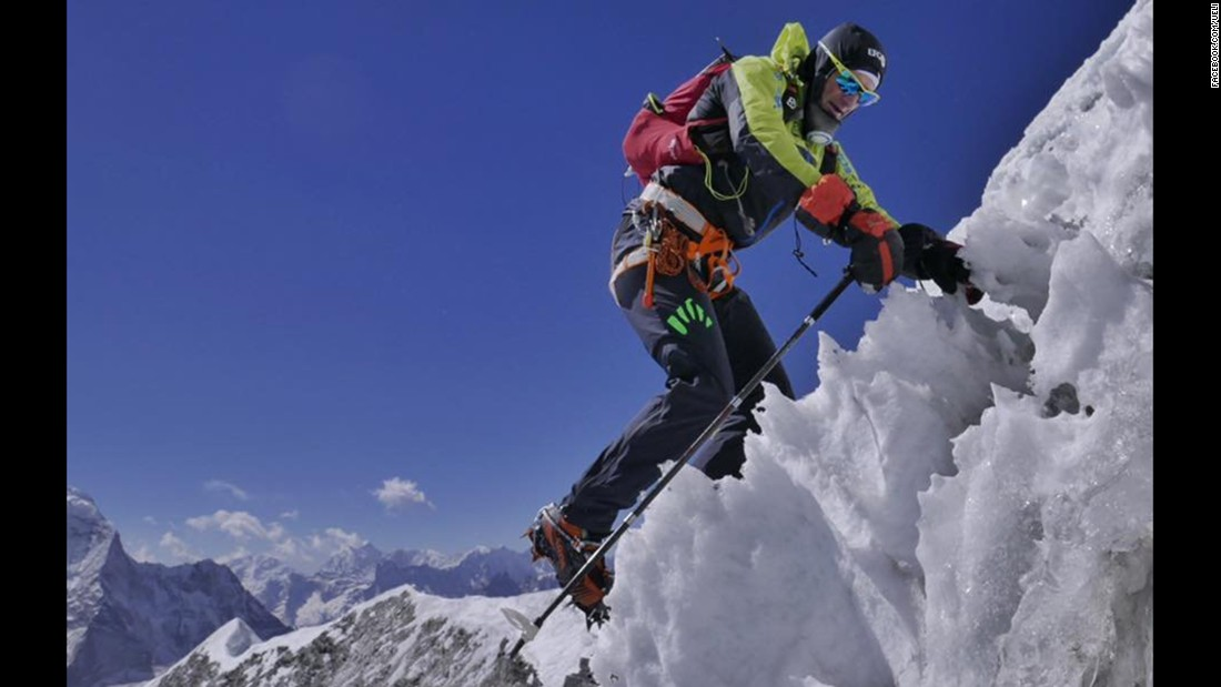 Steck is seen during a training climb near the village of Chukung, in the Khumbu region in the Himalayas, in February 2017.