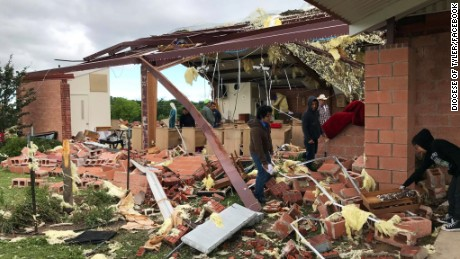 "Severe weather hit Emory, Texas, Sunday morning, April, 30. The storm destroyed the Saint John the Evangelist Church, the Diocese of Tyler posted on its Facebook page.  ""About 45 people were just 10-feet away in a hallway sheltering when the tornado hit. By the grace of God and the protection of Our Lady, no one was injured,"" the Diocese wrote."