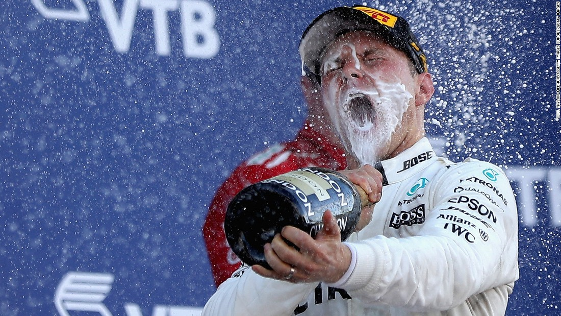 Champagne moment: Valtteri Bottas won his first F1 race at Sunday's Russian Grand Prix.