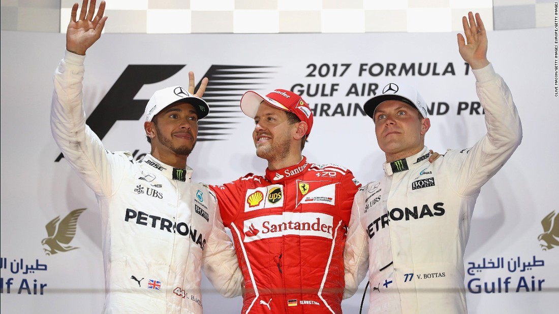 Bottas claimed his first-ever F1 pole at April's Bahrain Grand Prix but couldn't convert it into a win. The Finn ended up in third behind teammate Lewis Hamilton (far left) and race winner, Ferrari's Sebastian Vettel.