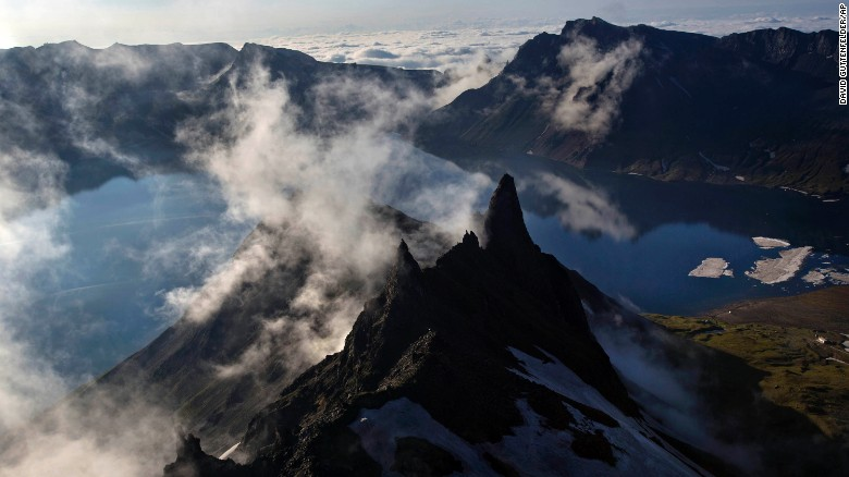 Clouds float over the peak of Mt. Paektu in North Korea's Ryanggang province in June 2014.