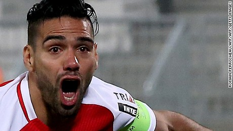 Monaco's Colombian forward Radamel Falcao celebrates after scoring a goal during the French L1 football match between Bordeaux (FCGB) and Monaco (ASMFC) at the Matmut Atlantique Stadium in Bordeaux, southwestern France, on December 10, 2016.   / AFP / ROMAIN PERROCHEAU        (Photo credit should read ROMAIN PERROCHEAU/AFP/Getty Images)