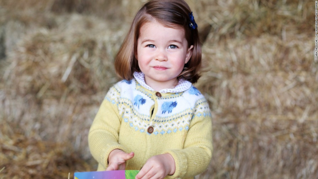 Britain's Princess Charlotte turns 2 years old on Tuesday, May 2. This photo of her was taken in April by her mother Catherine, the Duchess of Cambridge. Charlotte is fourth in line to the British throne behind her grandfather, Prince Charles; her father, Prince William; and her big brother, Prince George.