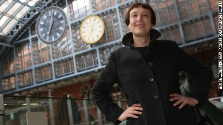 "Artist Cornelia Parker in front of her work ""One More Time"" unveiled at St Pancras International station on May 28, 2015 in London."