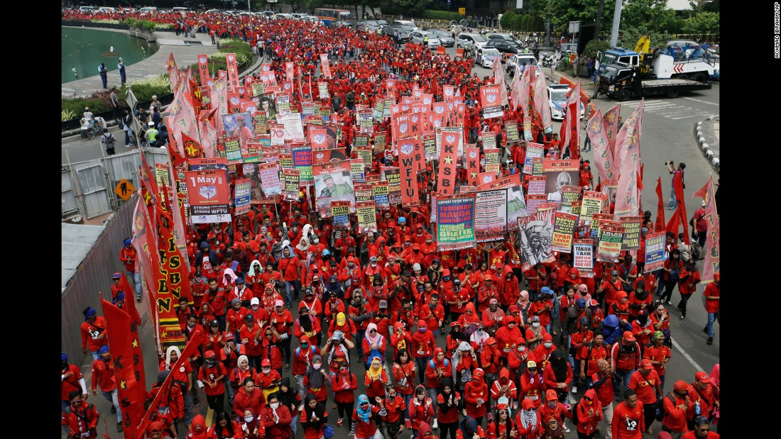 Workers march on May Day in Jakarta, Indonesia.