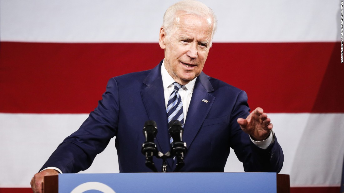 "Biden speaks at a fundraising dinner for New Hampshire Democrats in April. Biden, who advisers say is nowhere near making a decision on whether to run for president in 2020, <a href=""http://www.cnn.com/2017/04/30/politics/joe-biden-new-hampshire-2020/index.html"" target=""_blank"">addressed the question head-on.</a> ""Guys, I'm not running!"" he said with a smile, as the audience in the hotel ballroom booed in response."