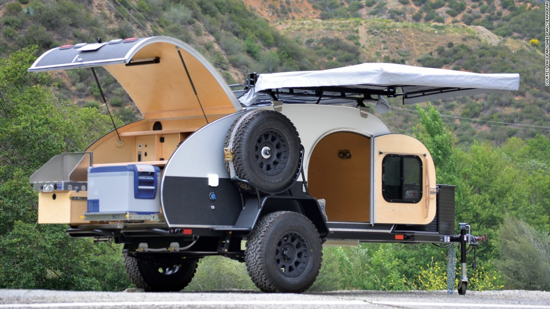 This modern twist on the traditional teardrop trailer, complete with a fully equipped kitchen and two-person sleeping quarters, can be customized with a variety of finishes and accessories.