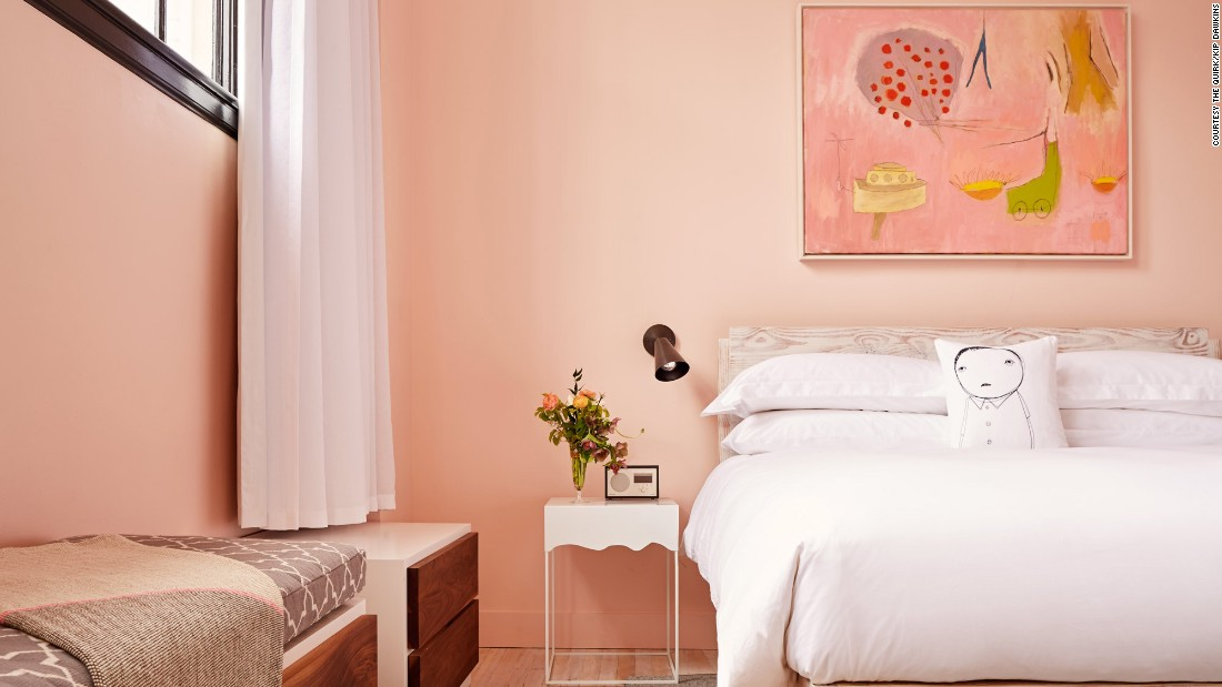 <strong>The Quirk: </strong>This Richmond hotel is owned by a wife-and-husband team who incorporated their favorite colors, gray and pink, in the design.
