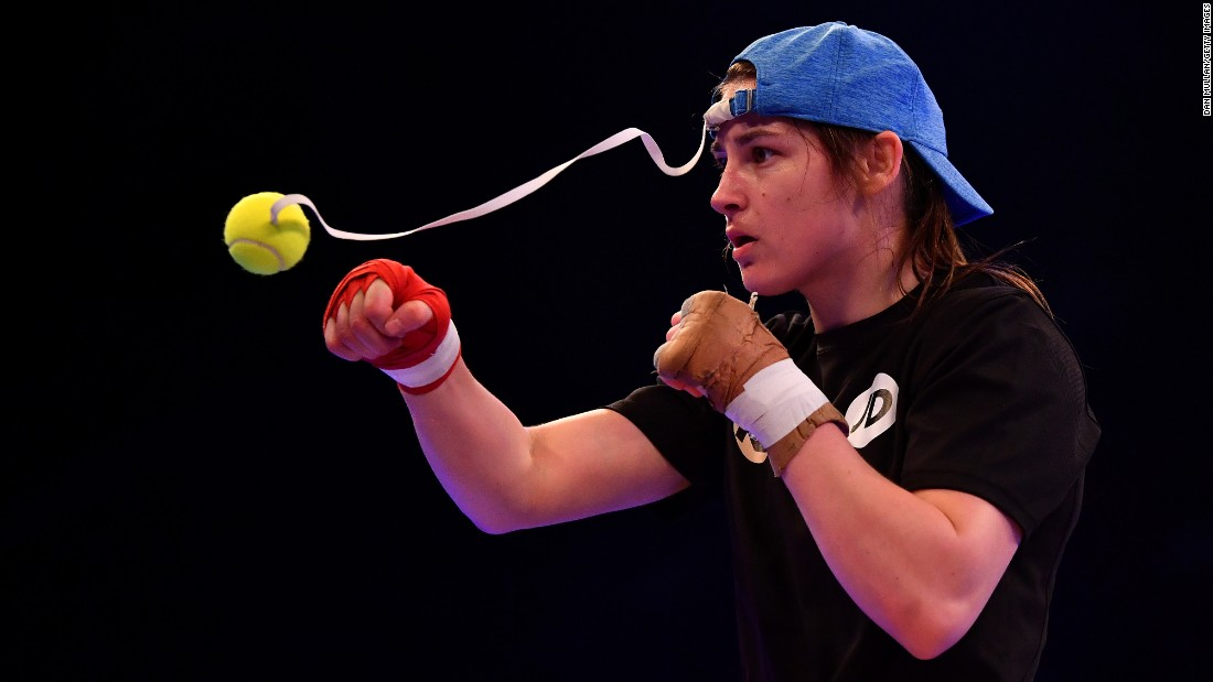 Boxer Katie Taylor trains in London on Wednesday, April 26, a few days before her win over Nina Meinke.