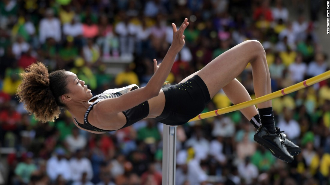 High jumper Vashti Cunningham, daughter of former NFL star Randall Cunningham, clears the bar at the Penn Relays in Philadelphia on Saturday, April 29. She finished first in the Olympic Development category.