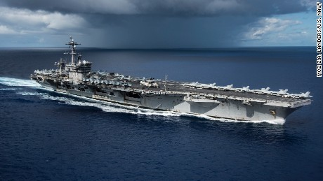 USS Carl Vinson moves through the Philippine Sea on April 23, on its way to the Korean Peninsula.
