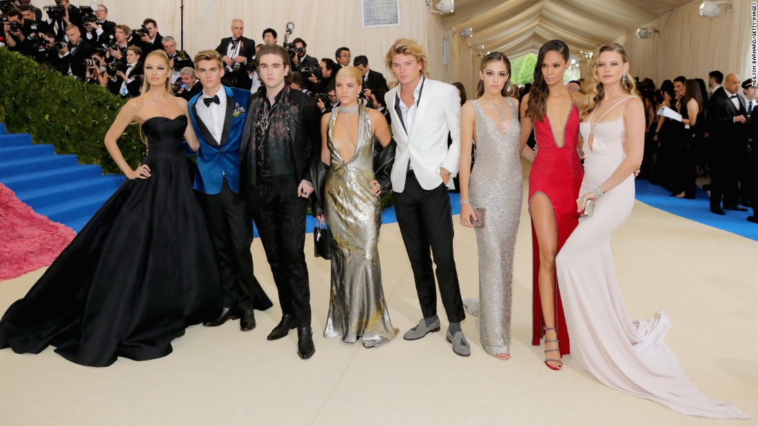 "Left to right, Candice Swanepoel, Presley Gerber, Gabriel Kane, Sofia Richie, Jordan Kale Barrett, Joans Smalls and Behati Prinsloo attend the ""Rei Kawakubo/Comme des Garcons: Art Of The In-Between"" Costume Institute Gala at the Metropolitan Museum of Art on May 1, in New York City."