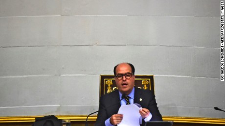 The president of Venezuela's National Assembly, opposition Julio Borges, is pictured during a session in Caracas on April, 25, 2017. Venezuela's opposition called for a new march against Venezuelan President Nicolas Maduro  for Wednesday. 26 people have died in a wave of protests this month in Venezuela.  / AFP PHOTO / RONALDO SCHEMIDT        (Photo credit should read RONALDO SCHEMIDT/AFP/Getty Images)