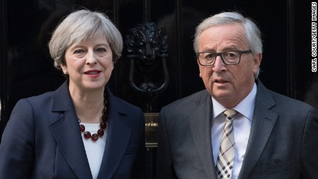 Theresa May hosts Jean-Claude Juncker at Downing Street in April.