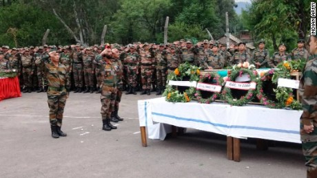 "A memorial service held on May 2 for two soldiers killed on the line of control, allegedly ""mutilated"" by Pakistan Army troops. Pakistan denies any involvement."