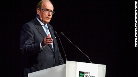 "Canadian lawyer Richard McLaren, who produced a report for the World Anti-Doping Agency (WADA) which claimed that Russia had orchestrated state-sponsored doping at the 2014 Sochi Winter Olympics, addresses the WADA Annual Symposium in Lausanne on March 13, 2017. Russia still has ""significant work"" before its scandal tainted anti-doping operation regains global recognition, WADA chief Craig Reedie warned. The World Anti-Doping Agency chief said Russia's national agency had not proved it was shielded against ""outside interference."" / AFP PHOTO / Fabrice COFFRINIFABRICE COFFRINI/AFP/Getty Images"
