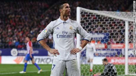Ronaldo celebrates after scoring against Atletico Madrid in November 2016.