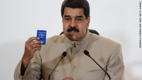 Venezuelan President Nicolas Maduro talks during the official announcement of the decree calling for the rewrite of the constitution at the National Electoral Council (CNE) in Caracas on May 3, 2017. Venezuela's angry opposition rallied Wednesday vowing huge street protests against President Nicolas Maduro's plan to rewrite the constitution and accusing him of dodging elections to cling to power despite deadly unrest. / AFP PHOTO / FEDERICO PARRA        (Photo credit should read FEDERICO PARRA/AFP/Getty Images)