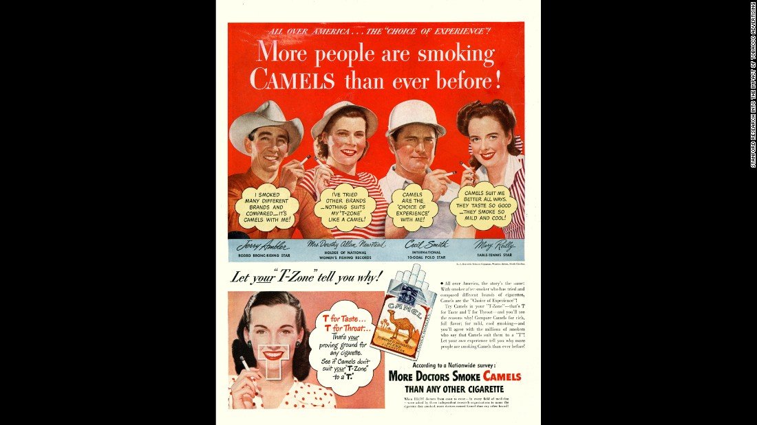 "The use of sports celebrities was also common in the early days of tobacco advertising. Here, leading names in rodeo, polo, table tennis and fishing are placed above yet another endorsement by doctors. <br /><br />""Little protest was heard from the medical community or organized medicine,"" SRITA said, ""perhaps because the images showed the profession in a highly favorable light.""<br /><br />The American Medical Association did not respond to a request for comment."