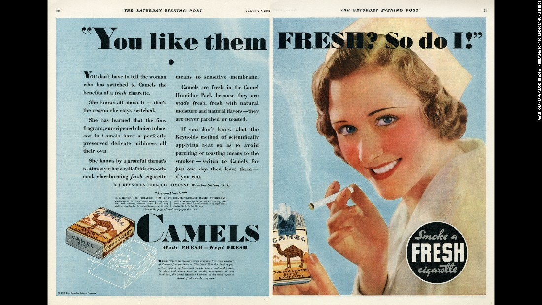 In the early 1900s, women began picking up smoking habits -- and consequently, nurses were used to promote the benefits of particular cigarettes. That would soon become common in the world of tobacco advertising. This ad for Camel cigarettes was released in 1932.