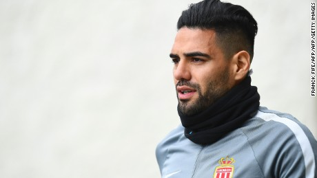 Monaco's Colombian forward Radamel Falcao  arrives for a training session on May 2, 2017 in La Turbie, near Monaco, on the eve of the UEFA Champions League semi-final first leg football match against Juventus.  / AFP PHOTO / FRANCK FIFE        (Photo credit should read FRANCK FIFE/AFP/Getty Images)