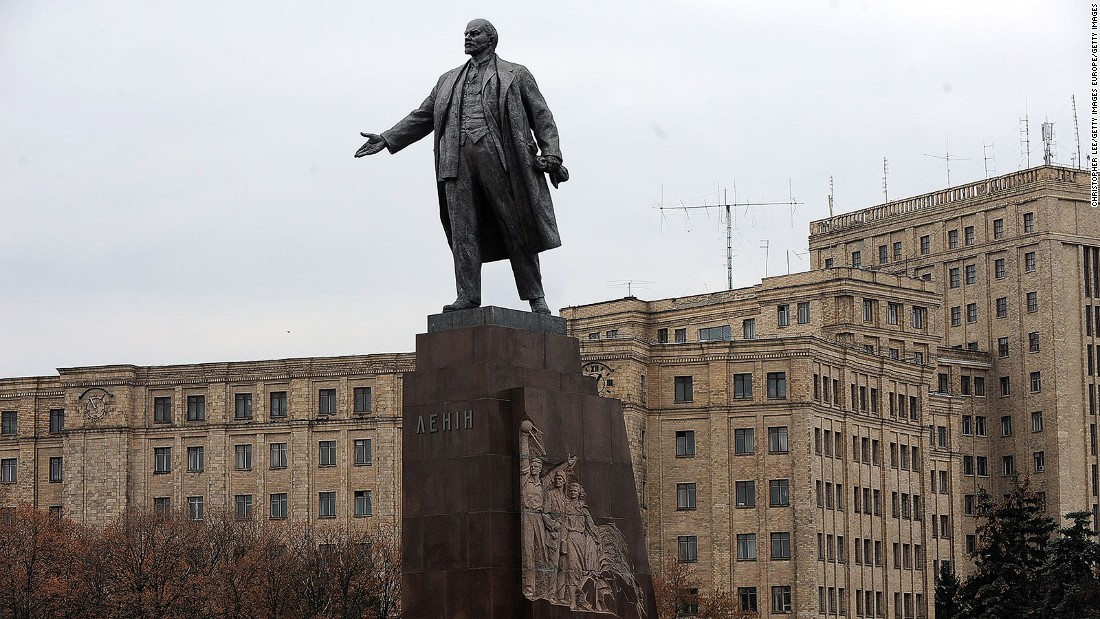 <strong>Freedom Square, Kharkiv: </strong>Freedom Square is home to this statue of Lenin and the Derzhprom building (in the background), one of the most famous examples of constructivist architecture.
