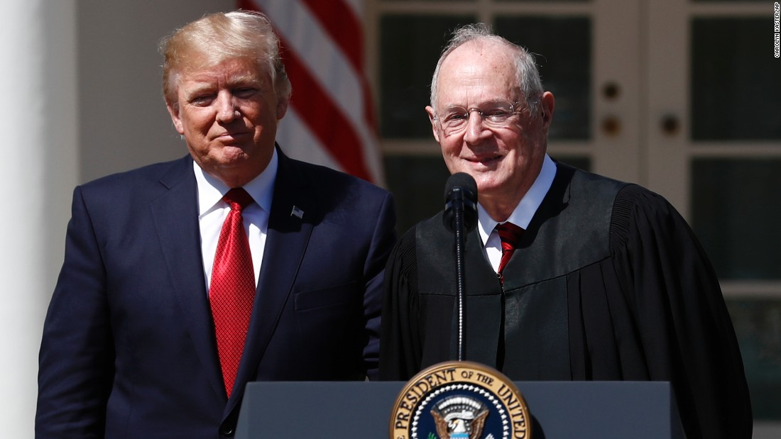 Kennedy and President Trump attend the swearing-in ceremony for new Supreme Court Justice Neil Gorsuch in April 2017. Kennedy delivered the judicial oath.
