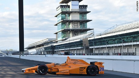 Fernando Alonso completed his first laps in an Indy Car at the Indianapolis Motor Speedway.