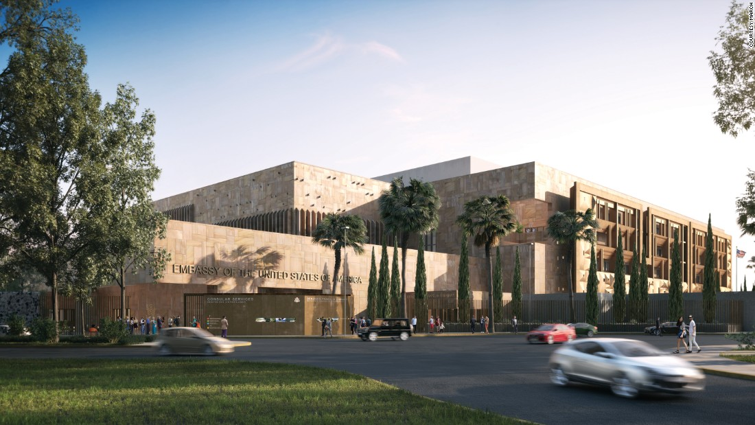 The new U.S. embassy in Mexico City is one of the first initiated under the State Department's Excellence in Diplomatic Facilities program. Aspects of the design reference Mexican architectural traditions.