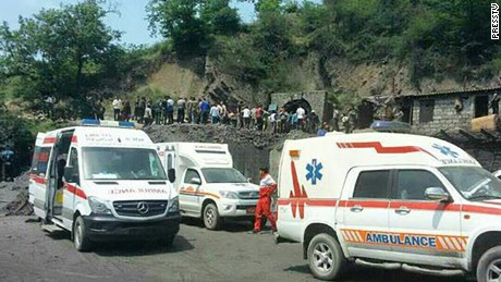 Ambulances are at the scene of the mine blast Wednesday in Golestan province in this Press TV image.