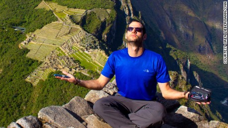 Oren Liebermann at Machu Picchu, Peru, being zen with his insulin kit.