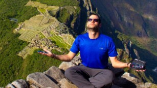 Oren Liebermann at Machu Picchu, Peru, being zen with his insulin kit.