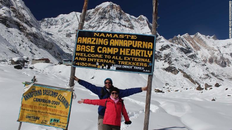 Oren Liebermann and his wife, Cassandra Kramer, at Annapurna Base Camp in Nepal.