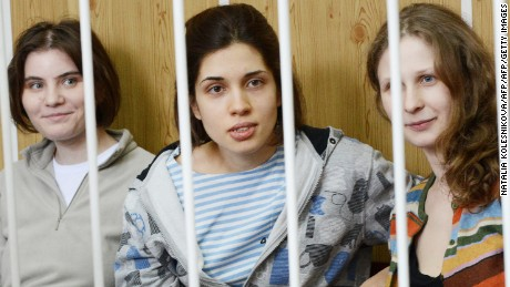 "Band members of  ""Pussy Riot"" during a court hearing in Moscow (Nadezhda Tolokonnikova - center)"