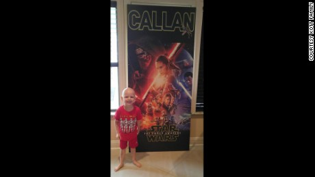 "Callan received a door that is covered with the poster from his favorite movie, ""The Force Awakens."""